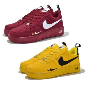 Kit 2 Pares Tênis Nike Air Force 1 TM Mostarda + Bordô