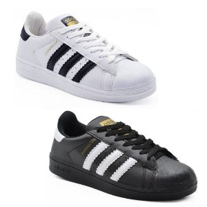 Kit 2 Pares Tênis Adidas Superstar Branco + Preto Masculino
