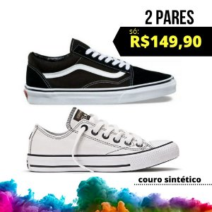 Combo 1 All Star Couro Sintético + 1 Vans Old Skool