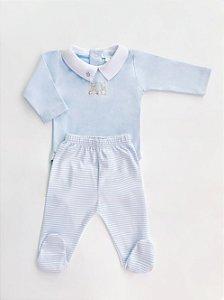 Conjunto Body Azul Marinheiro e Calça Listrada em Algodão Pima Peruano
