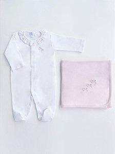 Conjunto Macacão Longo Branco e Manta Rosa Cegonha em Algodão Pima Peruano