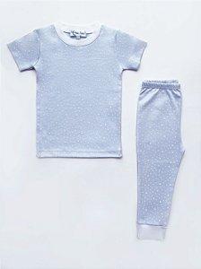 Pijama Azul Estrelinha em Algodão Pima Peruano