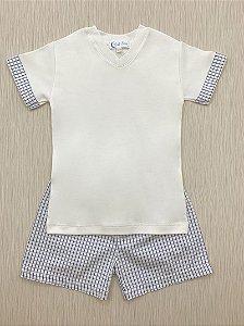 Pijama Curto Quadriculado em Algodão Pima