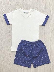 Pijama Curto Bolinhas em Algodão Pima
