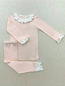 Pijama Comprido Rosa em Algodão Pima Peruano