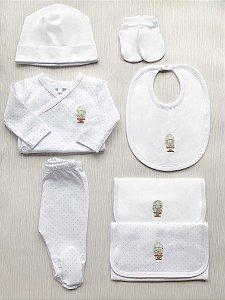 Kit Body Kimono Branco em Algodão Pima Peruano