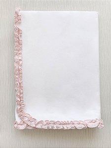 Manta Branca com Babado Rosa em Algodão Pima Peruano