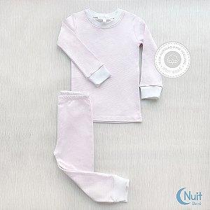 Pijama Comprido Listras Rosa e Branco em Algodão Pima Peruano
