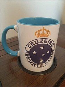 Caneca de Porcelana do Cruzeiro, com Alça e Interior Azul