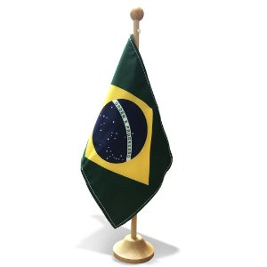 Bandeira de Mesa Oficial Brasil 15x20x30cm Dupla Face