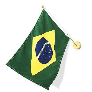 Bandeira Oficial Brasil Dupla Face 45x64cm com Suporte de parede Mini Mastro 60cm