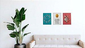 Kit 1 com 3 Placas (Trio) MDF de Mensagens (Frases) em tamanho A4 (21 x 29,7 cm)