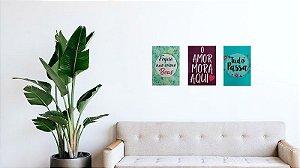 Kit 5 com 3 Placas (Trio) MDF de Mensagens (Frases) em tamanho A4 (21 x 29,7 cm)