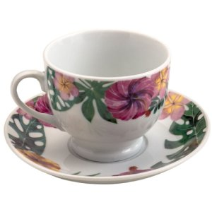 Conjunto 6 Xicaras Cha 180ml de Porcelana com Pires Amazon
