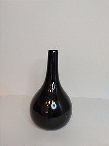 Vaso Garrafa Aruba Preto de Ceramica 11,5x20cm
