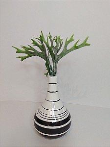 Vaso Garrafa Aruba Listrado de Ceramica 9x13,5cm