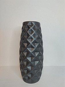 Vaso Diamond Preto Fosco de Ceramica 12x28cm