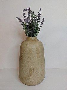 Vaso Madeira Bege de Ceramica 14x23cm
