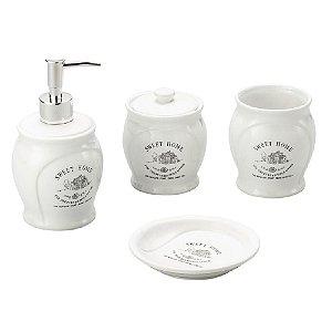 Conjunto Banheiro 4 Pecas Ceramica Arredondado Sweet Home