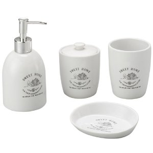 Conjunto Banheiro 4 Pecas Ceramica Liso Sweet Home
