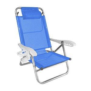 Cadeira de Praia Reclinavel 5 Posicoes Topline Azul 120kg ZAKA