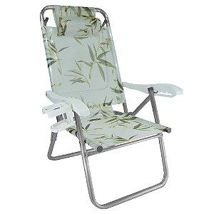 Cadeira de Praia Reclinavel 5 Posicoes Upline Bambu 120kg ZAKA