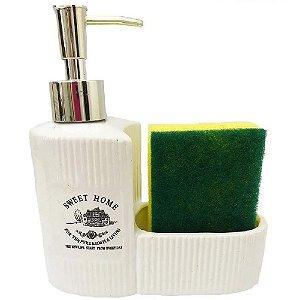 Porta Detergente e Esponja de Ceramica Sweet Home 250ml LYOR