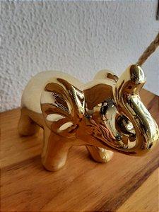 Elefante Decorativo Grande Dourado 14X6X11cm