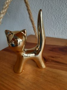 Gato Decorativo Dourado 6X3X10cm