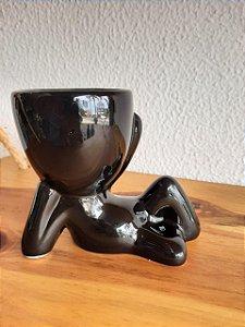 Vaso Cachepot Bob Deitado Preto 11,5x5x9,5xcm