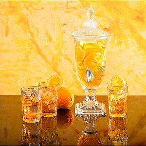 Suqueira Dispenser de Cristal 2 litros Diamante com Torneira Prata LYOR