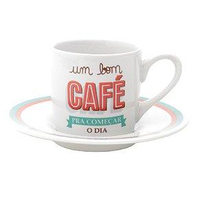 Conjunto 6 Xicaras Cafe 90ml de Porcelana com Pires Bom Dia