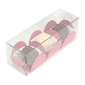 PX-66 Caixa para 3 Docinhos, Embalagem Trio Brigadeiros (12x4x4 cm) 10unid