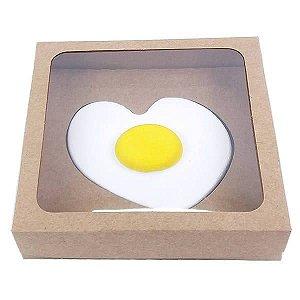 Caixa Visor Ovo Frito Coração Kraft (13x13x2.5 cm) 10unid
