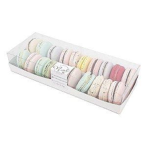 TRP-324 (27x10x5 cm) Caixa para 20 Macaron Embalagem de Plástico e Papel 10unid