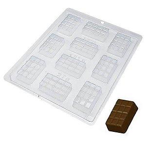 Forma para Chocolate Tablete 12 Gomos 27g Forma Simples Ref. 1275 BWB 5unids