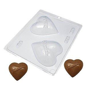 Forma para Chocolate Coração Felicidades 200g Forma Simples Ref. 554 BWB 5unids