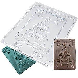 Forma para Chocolate Placa Arvore de Natal Boas Festas 167g Forma Simples Ref. 181 BWB 5unids