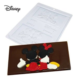 Forma para Chocolate Barra Mickey e Minnie Abraçados 75g Ref. 12011 BWB Licenciada Disney 10unid