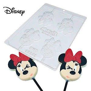 Forma para Chocolate Pirulito Rosto Minnie 22g Ref. 12049 BWB Licenciada Disney 10unid