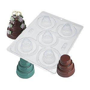 Forma para Chocolate com Silicone Bolo Detalhado Pequeno 10g Ref. 851 BWB 1unid