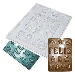 Forma para Chocolate Placa Feliz Ano Novo 143g Forma Simples Ref. 188 BWB 5unids