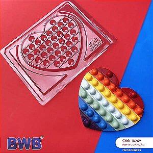 (5unid) Forma para Chocolate POP IT Coração POPIT Fidget Toys Placa Ref. 10269 BWB Forma Simples