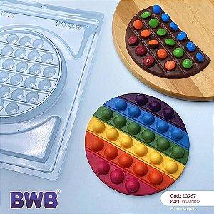 (5unid) Forma para Chocolate POP IT Redondo POPIT Fidget Toys Placa Ref. 10267 BWB Forma Simples