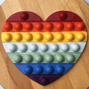 Forma para Chocolate com Silicone POP IT Coração POPIT Fidget Toys Placa Ref. 10273 BWB 1unid