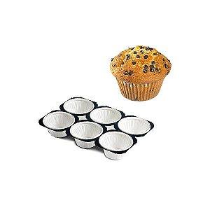 Bandeja para Muffin 50g Forma Forneável Branca 5x4cm Solta Fácil Ecopack Ref.BF5040-0 30unids Sulformas