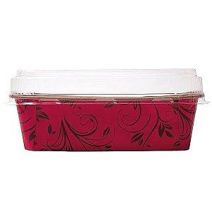Forma Bolo Inglês Plumpy M 500g Vermelha com Tampa Linha Top Ecopack Ref.PLT15855-2/5 5unids Sulformas