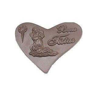 Forma para Chocolate Coração Boas Festas 110g Forma Simples Ref. 182 BWB 5unids