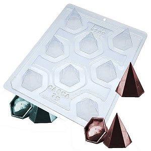 Forma para Chocolate com Silicone Trufa Pirâmide 6 Faces 20g Ref. 9780 BWB 1unid