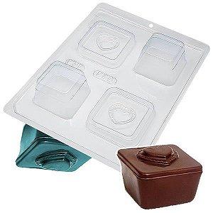 Forma para Chocolate com Silicone Mini Caixa Coração Ponteado Especial 50g Ref. 838 BWB 1unid